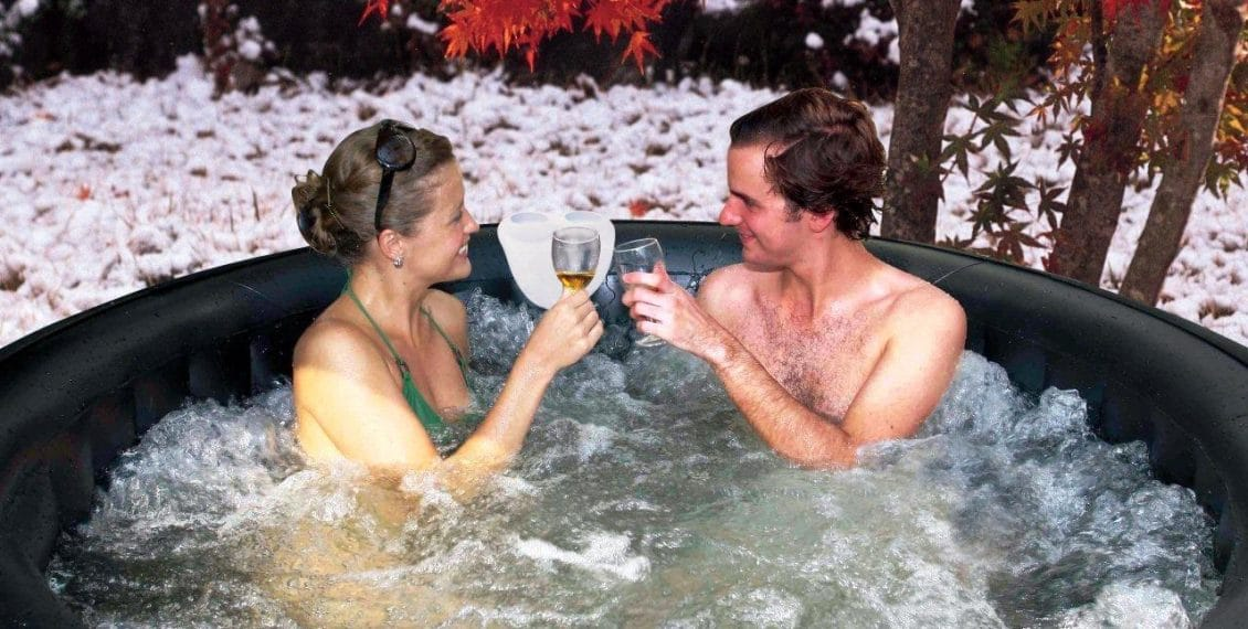 inflatable hot tub in winter